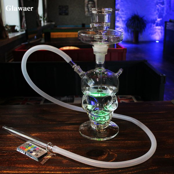 2017 New Cool Skull Glass Hookahs Shisha Glass Bongs Smoking Water Pipe With LED Light Silicone Hose mouthpiece chicha