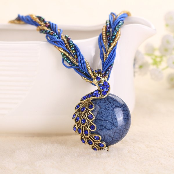 Cabochon and Crystal Peacock Pendant Necklace Multi Strands Twisted Glass Beads Choker Necklaces Popular 17 Colors DHL Free Shipping