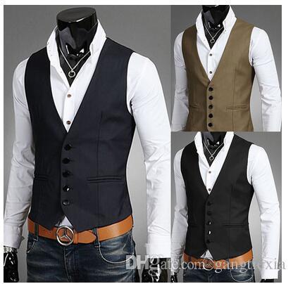 Homens Coletes Casacos Homem Ocasional Ternos Casuais Slim Fit Elegante Casacos Curtos Terno Blazer Casacos Coats casamento Coreano Mens Com Decote Em V colete