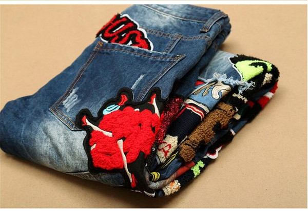 2016Hot Sale Patchwork Jeans Uomo 2016 Nuovo Designer Skinny Jeans Fashion Brand Biker Denim Overall Skinny Pants Casual Mens Clothes