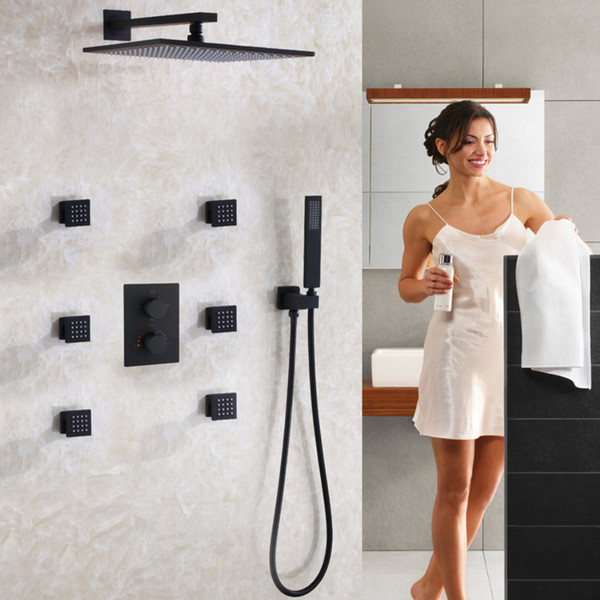 best selling Matte Frosted Blackened Bathroom Shower Faucet Set Contemporary 12 Inch Rain Shower Head Thermostatic Shower Mixer Valve