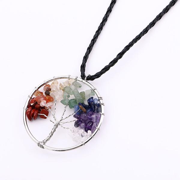 Perles en gravier pierre naturelle pierre ronde arbre de vie enroulement Reiki Pendule Pendentif Charms énergie santé Amulet Numen collier en cuir