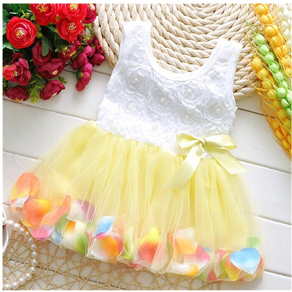 Princess Party Dresses Baby Infant New Arrival Summer Sleeveless Tutu Lace bowknot Flower Dresses Little Girls Birthday Gift