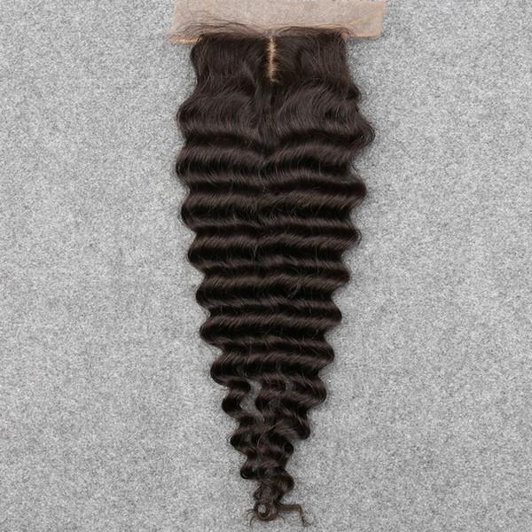 Slove 7A Vierge Cheveux HumainsBrazilian Vague Profonde Fermeture Gratuit / Moyen / 3 Partie Dentelle Fermeture Bleach Noeuds Naturel Couleur 8-20