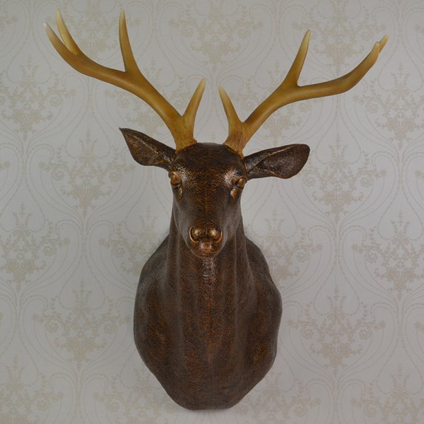 Full Size Wall Mounted Brown Buck Bust Whitetail Deer Head Trophy Wall Art Plaque Hunt Sculpture