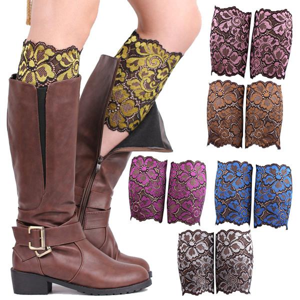 Stretch Lace Boot Cuffs Women GIRLS LEG WARMERS Trim Flower Design Boot Socks Knee free shipping