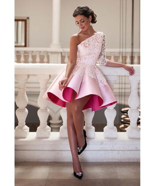 2019 дешевые розовый короткие линии Homecoming платья одно плечо складки Пром платья с кружевными аппликациями коктейльные платья
