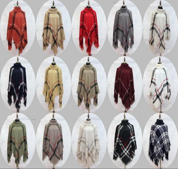 Plaid Poncho Women Tassel Blouse Knitted Coat Sweater Vintage Wraps Knit Scarves Tartan Winter Cape Grid Shawl Cardigan Cloak 12pcs OOA2903
