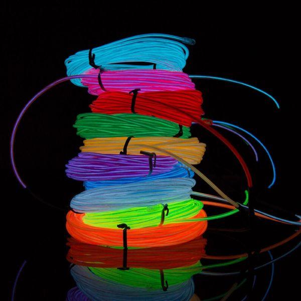 Tiras de LED 2M 3M 5M flexible luz de neón del resplandor del EL de alambre tubo de la cuerda del coche del partido del traje de la danza