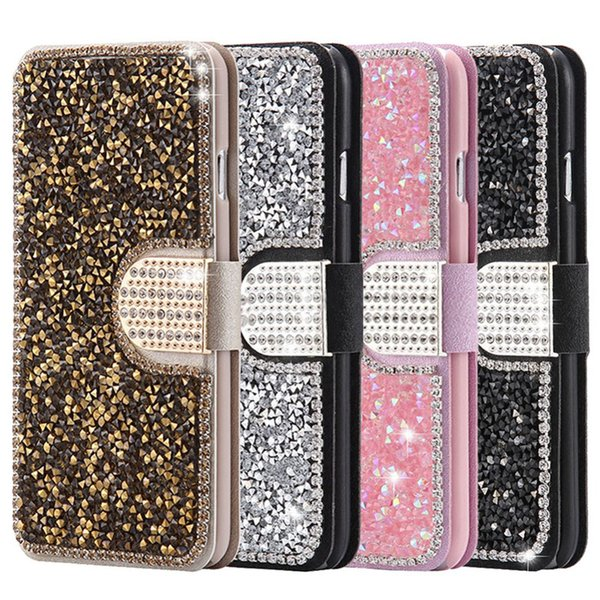 Luxury Full Body Bling Glitter Diamond Flip Leather Wallet Stand Case For iPhone 5 5S 6 6S Plus Samsung Galaxy S4 S5 S6 S7 Edge