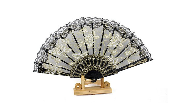 Free shipping In stock lace flower bridal fans hollow bamboo handle wedding accessories Fold paper fans Chinese style for dance