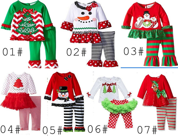 best selling 2016 baby xmas elk outfit girls deer christmas tree t-shirt + ruffle pants 2pcs sets children polka dot tops kids spring fall wear outfit