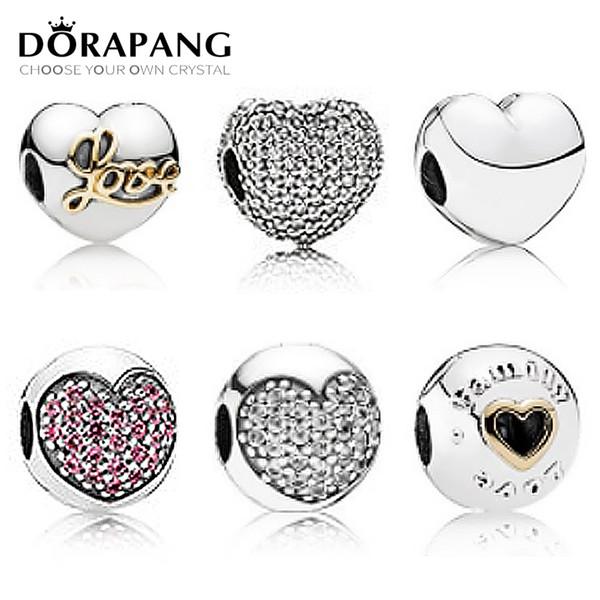 DORAPANG 100% 925 Sterling Silver Type d'amour Boucle fixe Clip de sécurité breloque Perles Collocation Bracelet DIY Bracelet usine en gros