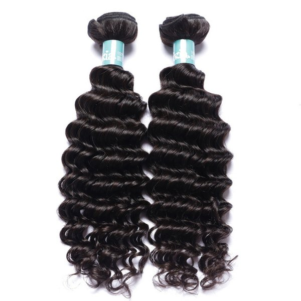 7A Brazilian Deep Curly Wave Hair Weave 100% Human Hair Extensions Full Head Natural Color Dyeable Bleachable 2pcs/Lot