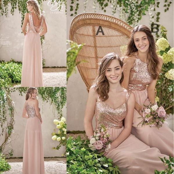 Vestidos de dama de honor brillantes con lentejuelas 2018 Baratas A-Line correas espaguetis Vestido de invitados plisado de la boda Longitud del piso Vestidos de fiesta de gasa
