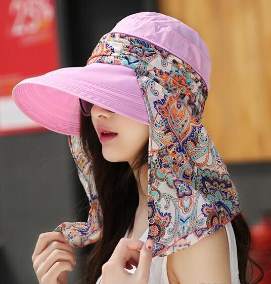 Fashion Women Lady Foldable UV Protection Neckguard Roll Up Sun Hat Beach Hat Wide Brim Visor Hat