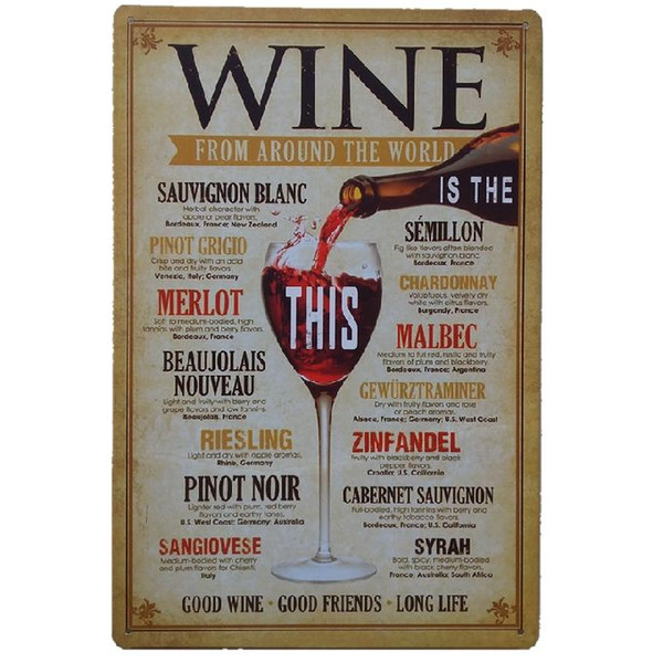 Wine from around the world Retro rustic tin metal sign Wall Decor Vintage Tin Poster Cafe Shop Bar home decor