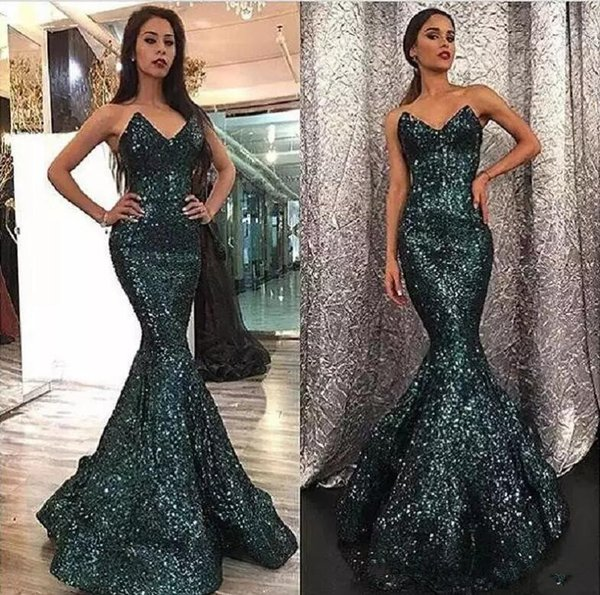 2018 Sequins Hunter Color Sweep Train Dubai Prom Gowns Mermaid ...