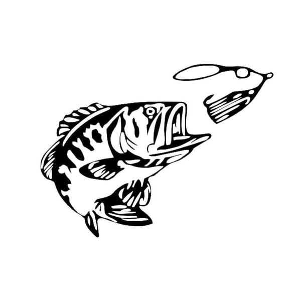 Bass Fishing Fish Car Rear Windshield Glass Decoration Stickers Car Modification Accessories Motorcycle SUVs Car Styling