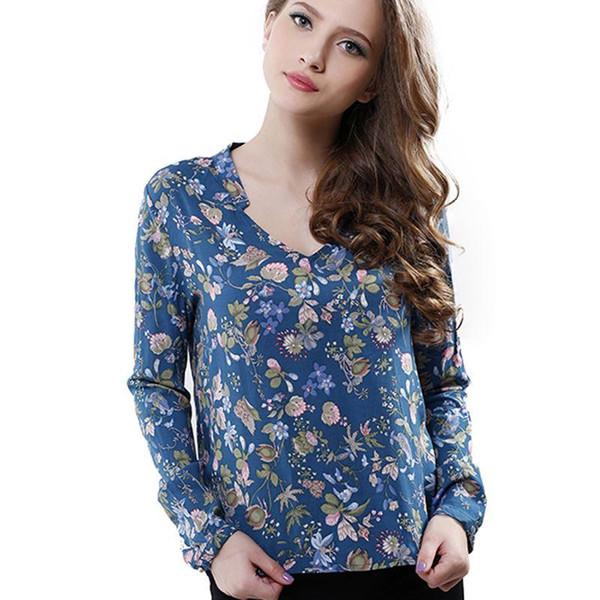 Las mujeres de moda elegante de la vendimia de manga larga con cuello en v Blusas de estampado floral Camisas O Casual Tops de la blusa de las mujeres