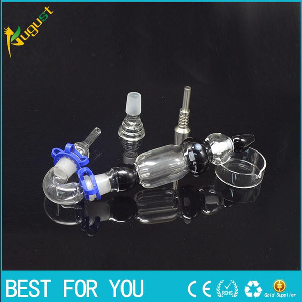 top popular Version bongs water pipe 2.0 Kit with Curved Glass Bowl Nail Titanium Nail Honey Straw Unit Glass Dish Glass Nail Glass Bong New 14mm 2019