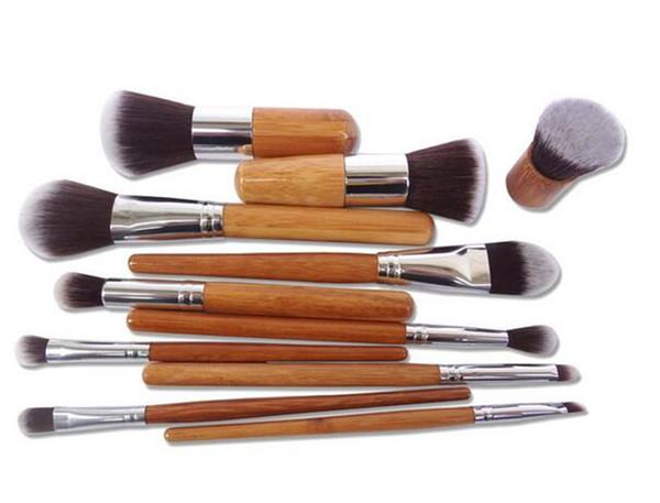 best price 11pcs Professional Make Up Tools Pincel Maquiagem Wood Handle Makeup Cosmetic Eyeshadow Foundation Concealer Brush Set Kit D649