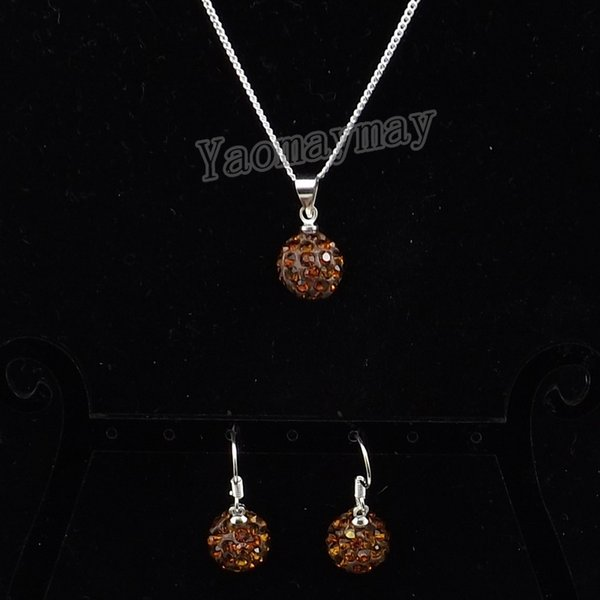 New Arrive Brown Disco Ball Pendant Earrings And Necklace For Girls Rhinestone Jewellery Set 10 Sets Wholesale
