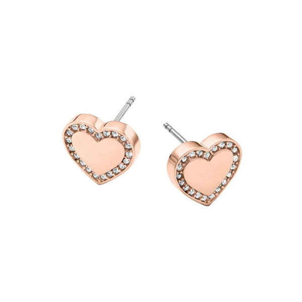 New Wholesale Earing Fashion Jewelry Brand Design Heart Silver Gold Rose Gold Stud Earrings For Women Crystal Earings Freeshipping