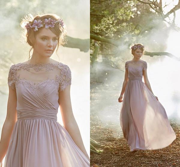 100% Echtes Bild Dusty Pink Brautjungfer Kleider Plissee Chiffon Kurzen Ärmeln Boho Brautjungfer Kleider Hochzeitsgast Kleider