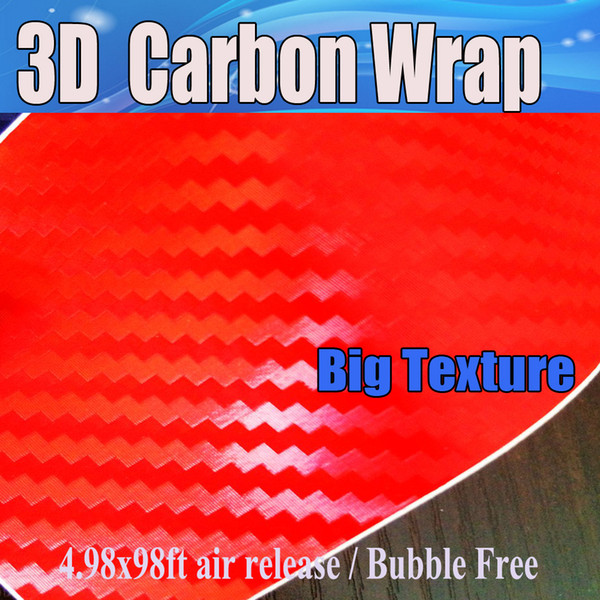 3D Carbon Fibre vinyl Film Air Bubble Free Car styling Free shipping Carbon laptop covering skin 1.52x30m/Roll