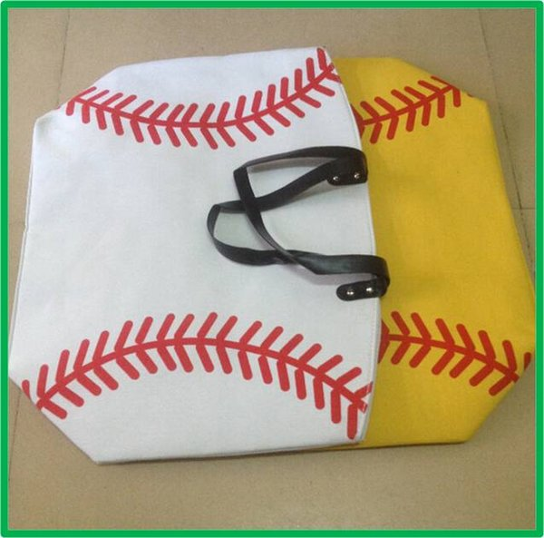 top popular Softball stitching bags baseball women & Kids Cotton Canvas Sports Bags Baseball Softball Tote Bag 2019