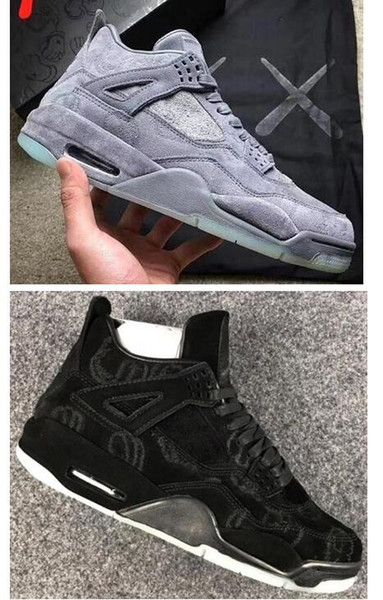 New 4 4s KAWS x Men Kaws XX Cool Grey Glow Basketball Shoes 4s KAWS Black Sneakers High Quality With Shoes Box