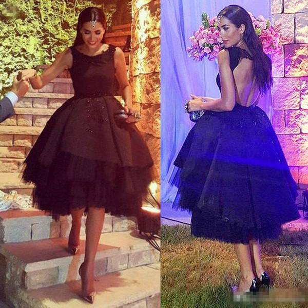 Hot Sale Arabic Style High Low Cocktail Evening Dresses Jewel Neck Keyhole Back Front Short Back Long Black Little Prom Occasion Gowns 2016