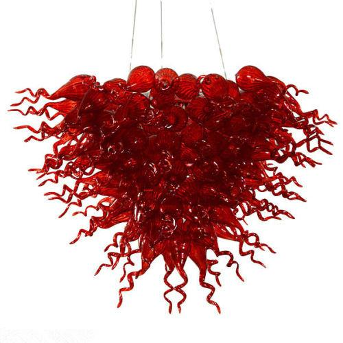 Instridual Pendant Lighting Vintage Modern Red Glass Art Chandelier Edison Bulbs Hanging Decorative Luxury Blown Glass Chain Chandelier