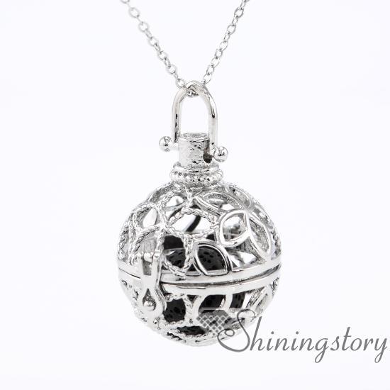 boule fleur diffuseur collier aromathérapie bijoux en gros aromathérapie diffuseur collier collier diffuseur d'huile pierre volcanique en métal
