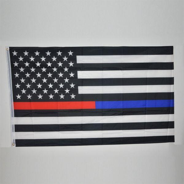 90 * 150 cm BlueLine USA bandiera della polizia 3x5 piedi sottile linea blu USA Flag Nero, bianco e blu bandiera americana con occhiello in ottone 50 pezzi