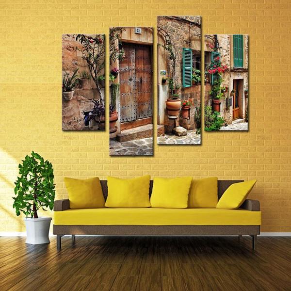 4 Panneau Mur Art Rues De Vieux Villes Méditerranéennes Fleur Porte Windows Peinture La Photo Imprimer Pour La Décoration De La Maison Décoration Cadeau pièce