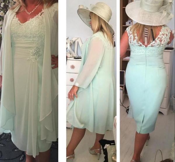 Menta verde cuello en V columna corta madre de los vestidos de novia con abrigo más tamaño Casual 2017 gasa vestidos de noche de encaje de té longitud