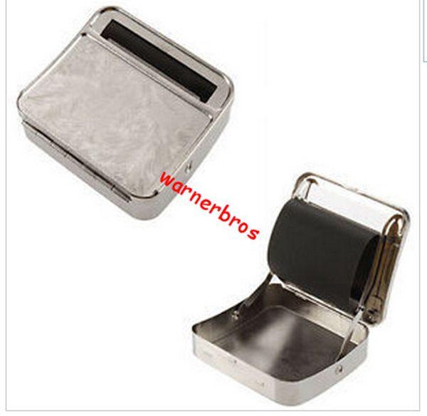 10pcs ePacket Zinn freies Verschiffen USA Vereinigtes Königreich 78mm Silber Zigarette Metall-Box Automatische Zigarette Rollpapiermaschine Selbstzigarettenrollenkoffer