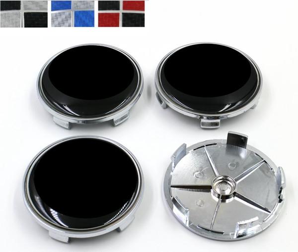 68mm 5 pines de fibra de carbono negro / blanco azul / blanco negro / rojo Car Wheel Center emblema insignia Auto Wheel Hub Rim Caps Logo