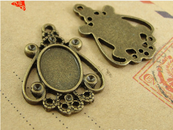 A3120 29*21MM Fit 14*10MM Antique Bronze plated Zinc alloy metal retro accessories DIY oval stamping blank base, pendant tray settings
