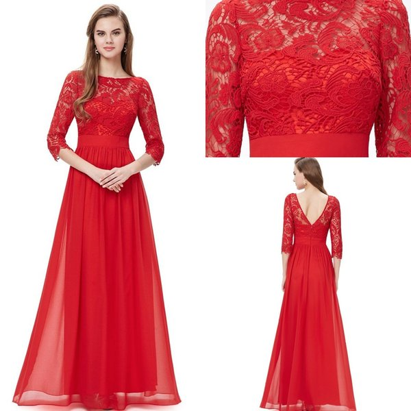 Beautiful Red Lace Body Long Prom Party Dresses 2016 Long Sleeve ...