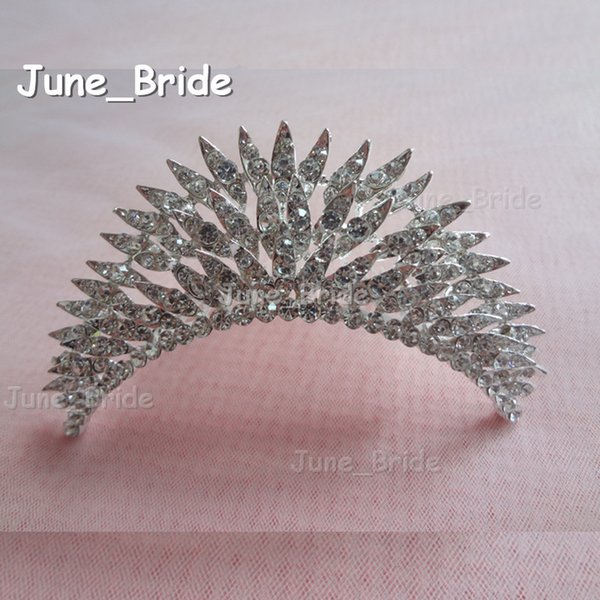 Real Photo Shinny Bridal Crown Layered Crystal Rhinestone Wedding Hair Accessories Comb Hair Wear Headpiece Free Shipping New Arrival Design