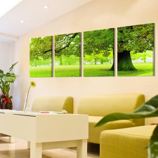 무료 배송 4 조각 unframed 장식 Canvas Prints 녹색 나무 초원 산 폭포 라벤더 나비 꽃 색칠