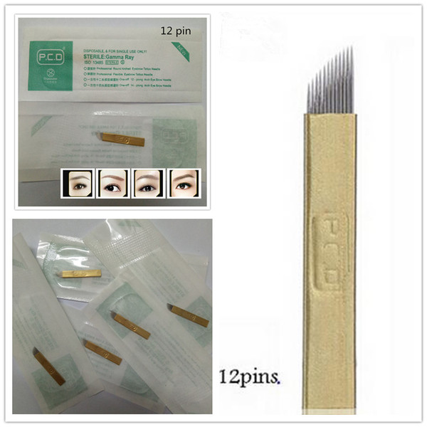 top popular 100 PCS PCD 12-Pin Permanent Makeup Manual Eyebrow Tattoo Needles Blade For Microblading Pen 2020