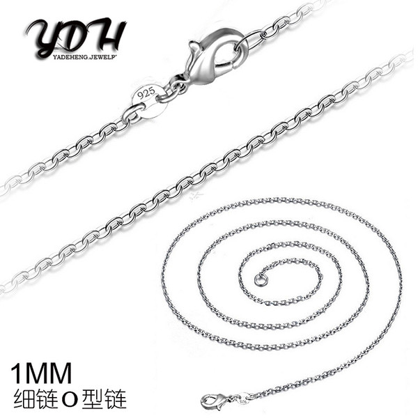 2016 Hot sales O Type 1MM 16' 18' 20' 22' 24' 26' 28' 30' 925 Silver Chain Necklace High Quality with free shipping 50pcs/lot