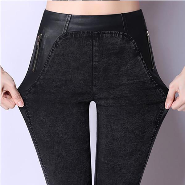 Nova Moda Magro Fino Duplo Zíper Jeans Grandes Estaleiros de Alta Elastic Cintura Alta Calças Lápis Ocasionais Para As Mulheres