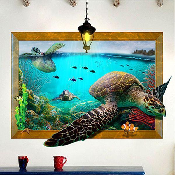 Gefälschte Bilderrahmen Unterwasserwelt Schildkröte Wandaufkleber Steuern  Dekor 3D Simulation Tapete Poster Kunst Wohnzimmer Schlafzimmer Wand Grafik