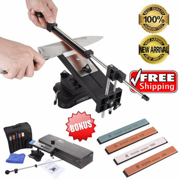 Wholesale-Best Promotion Ruixin Pro II Updated Chefs Professional Best Kitchen Sharpening Knife Sharpener System Fix-angle 4 whetstones