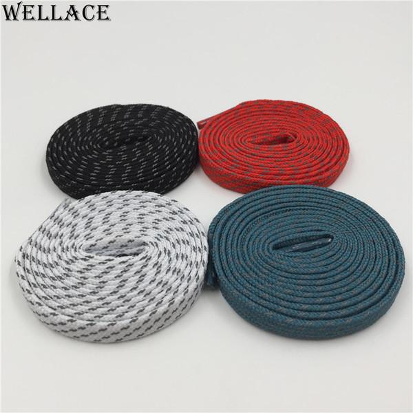 (30 pairs/Lot)Wellace 3M flat reflective laces black shoelaces sport shoe laces custom design boots shoelaces wholesale 0.7cm width 120cm